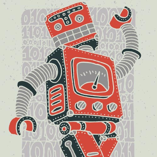 Happy Red Robot Graphic