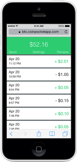 The iOS Coin Pocket app