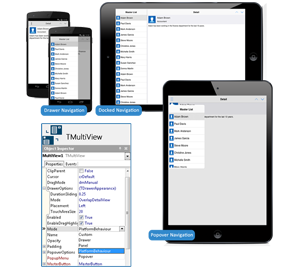 Building multi-device UIs with responsive menus using the MultiView component.