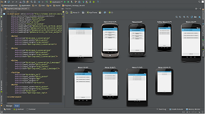 Android Studio lets developers edit and preview Android layouts across multiple screen sizes, languages and API versions
