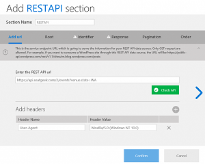 The New REST API Data Source in Windows App Studio
