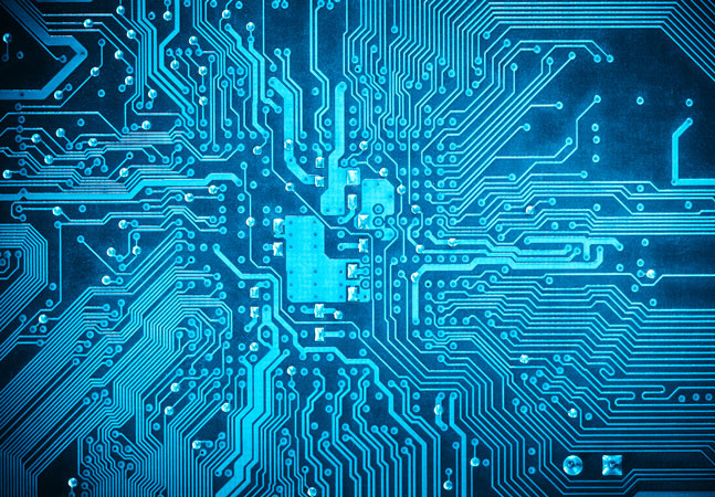Blue Circuit Board Graphic
