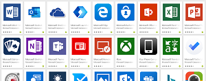 Some of the Microsoft Apps on Google Play
