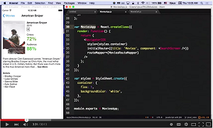 An iOS Xcode project showing a truly native movie app and its JavaScript source code.